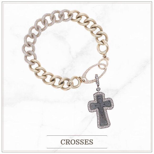 Layering bracelet with ancient byzantine cross set in yellow gold with diamond