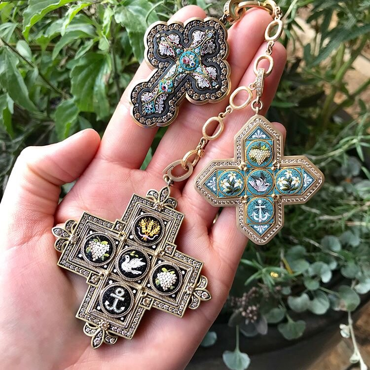 Italian Micro Mosaic Crosses
