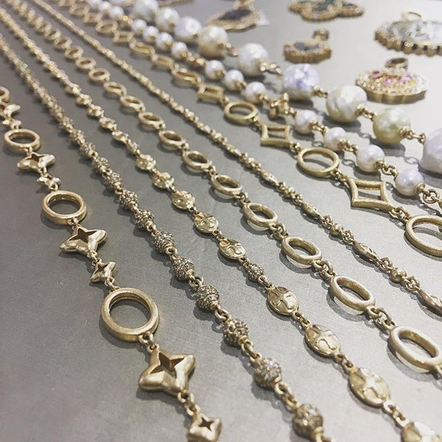 Hand made gold chains designed by Cynthia Ann