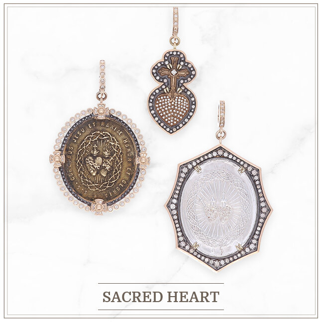 Sacred Heart antique medals set in yellow gold