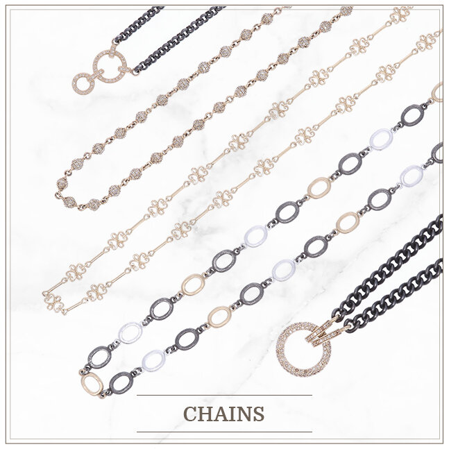 Yellow Gold and diamond chains by Cynthia Ann Jewels.