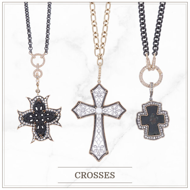 Antique and ancient crosses set in yellow gold with diamonds
