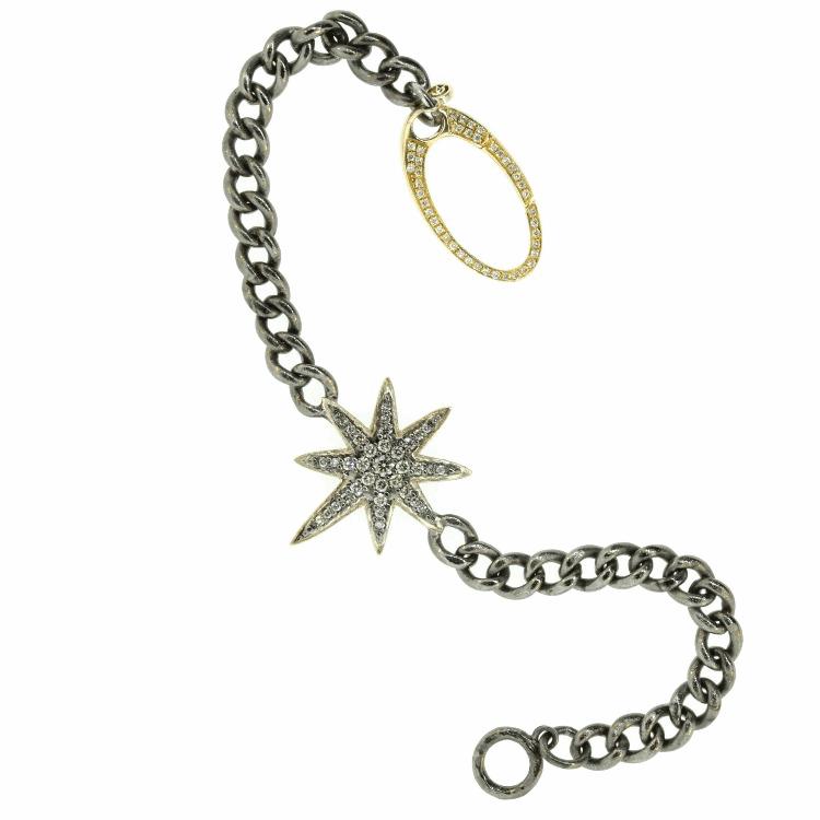 Diamond Starburst Chain Link Bracelet