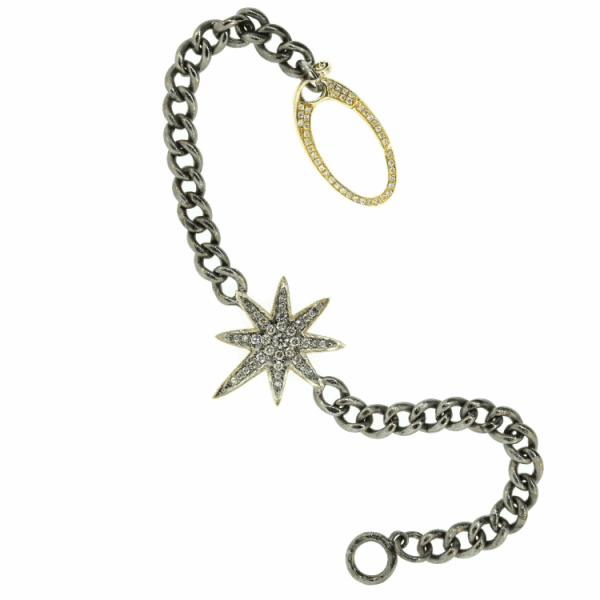Closeup photo of Diamond Starburst Chain Link Bracelet