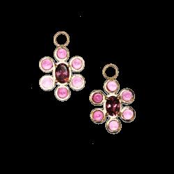 Closeup photo of Pink Tourmaline Flower Charm
