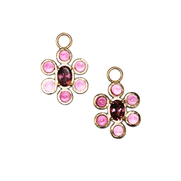 Closeup photo of Pink Tourmaline Flower Charm