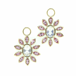 Closeup photo of Moonstone and Pink Sapphire Flower Charms
