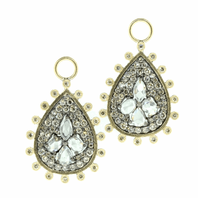 Rose Cut Diamond Pear Shaped Earring Charms