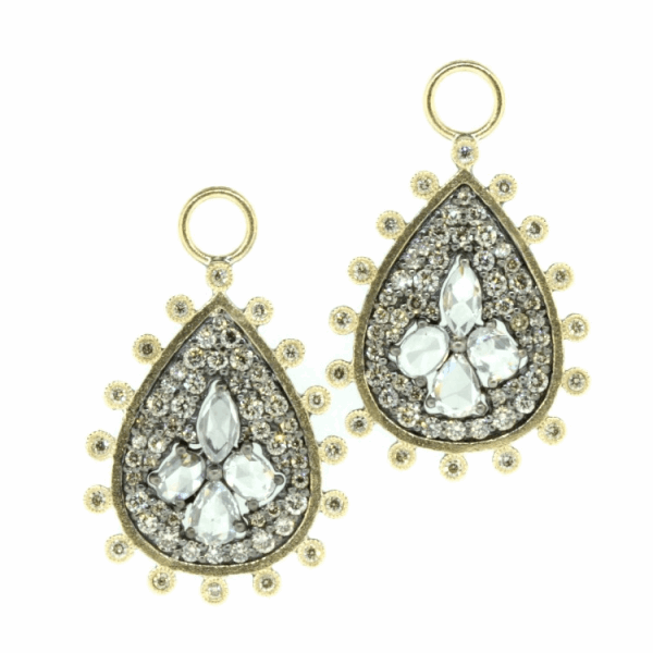 Closeup photo of Rose Cut Diamond Pear Shaped Earring Charms