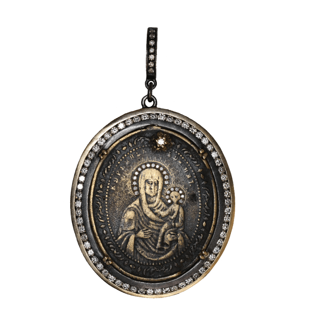 Ancient Madonna Medal with Diamond Halo Inlay