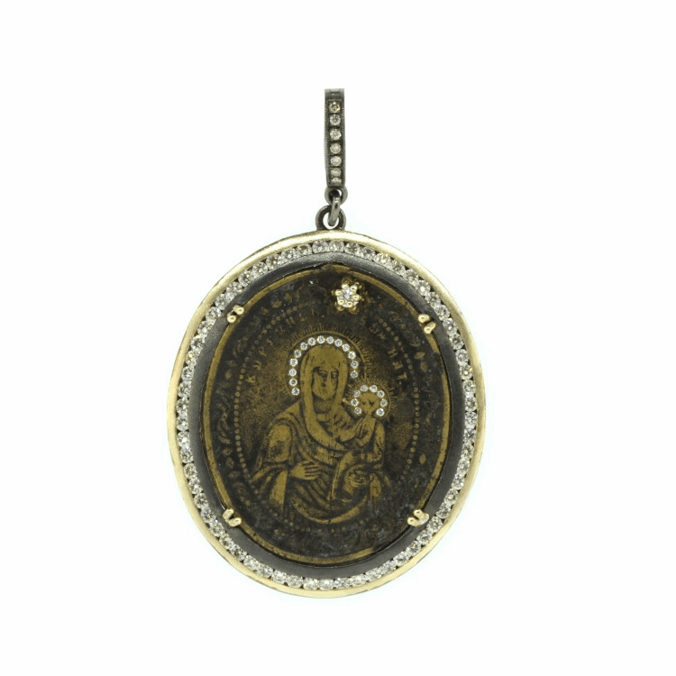 Image 2 for Ancient Madonna Medal with Diamond Halo Inlay