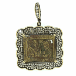 Closeup photo of 18th Century Russian Icon Bronze Pendant