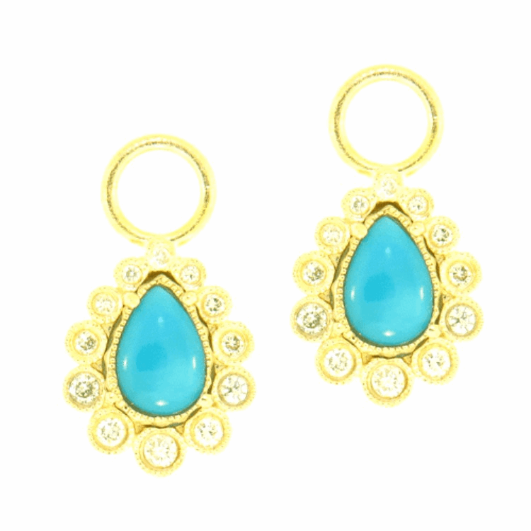 Sleeping Beauty Turquoise & Diamond Pear shaped Earring Charms