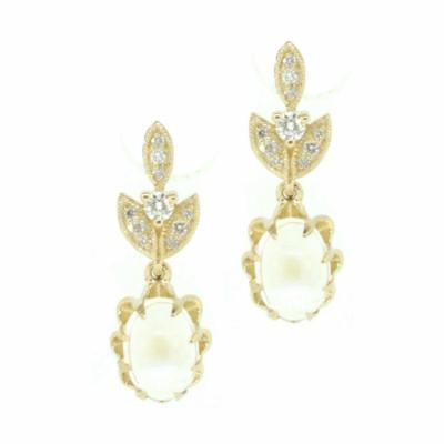Moonstone Leaf Drop Earrings