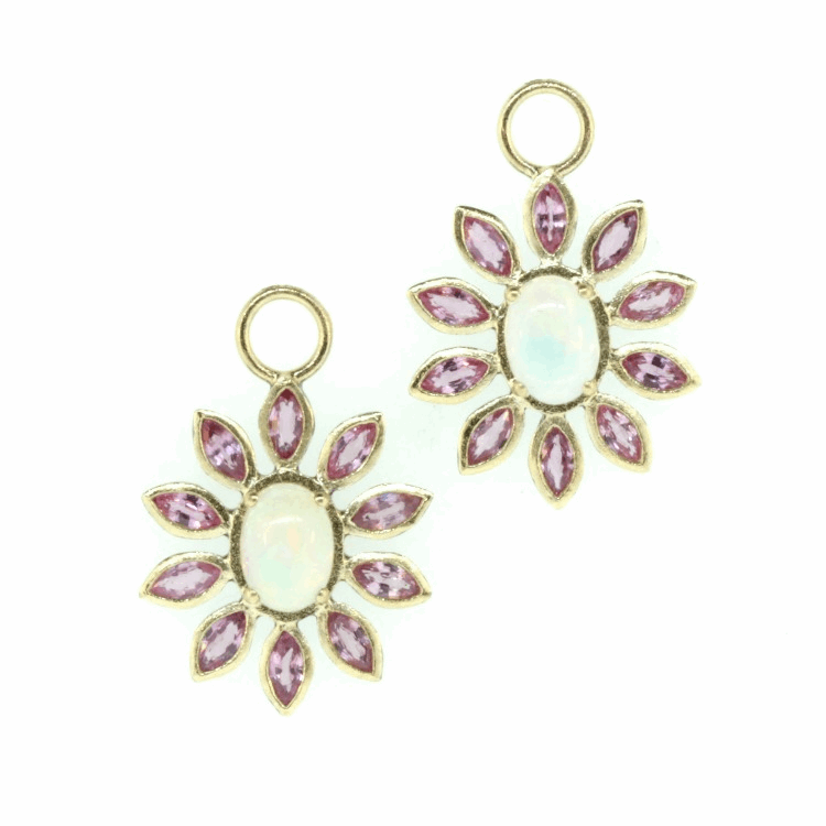 Opal and Pink Sapphire Sunflower Charms