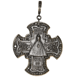 Closeup photo of Large Silver Notre Dame Cross Pendant