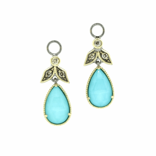 Closeup photo of Angel Turquoise & Diamond Earring Charms