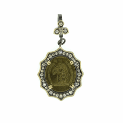 Closeup photo of French Baby Guardian Angel Pendant with a Diamond Flower Bezel