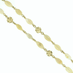 "Closeup photo of 60"" Opal Chain with Gold Flower Stations"