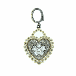 Rose Cut Diamond Flower Pave Heart