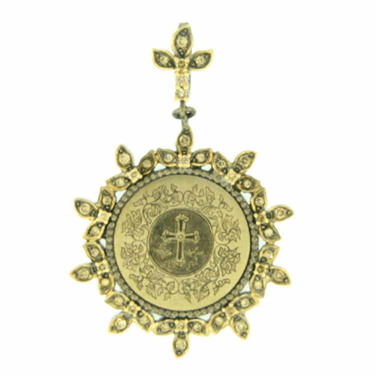 Fancy Love Token Engraved With Cross