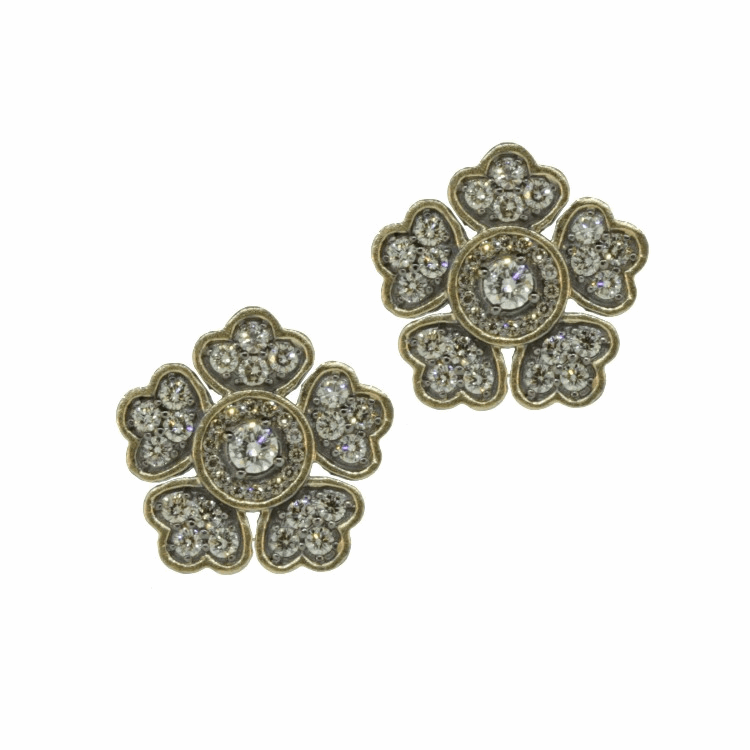 In Bloom Large Flower Diamond Stud Earrings