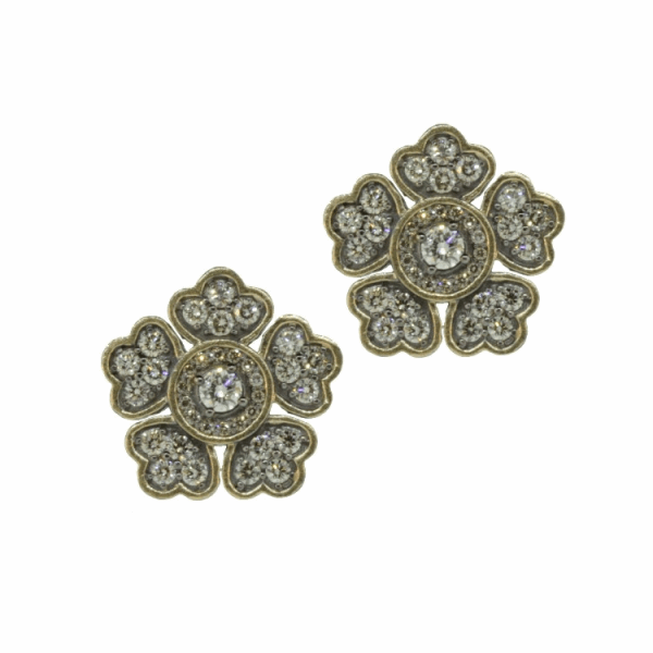 Closeup photo of In Bloom Large Flower Diamond Stud Earrings