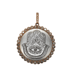Closeup photo of Rose Gold Engraved Hamsa