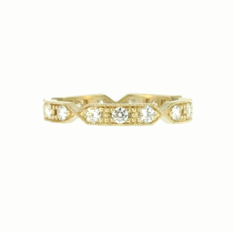 Yellow Gold Band with White Diamonds