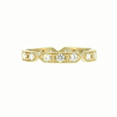 Yellow Gold Band with White Diamonds