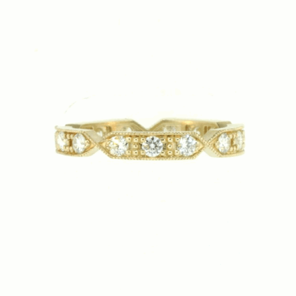 Closeup photo of Yellow Gold Band with White Diamonds