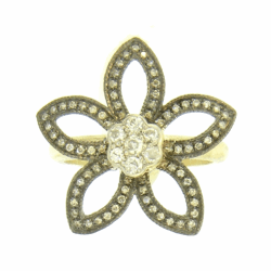 Closeup photo of Small Diamond Flower Ring