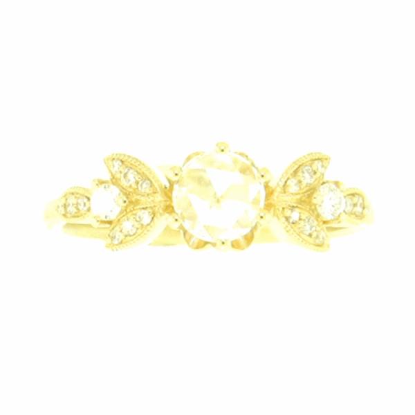 Closeup photo of Rose Cut Diamond Leaf Ring