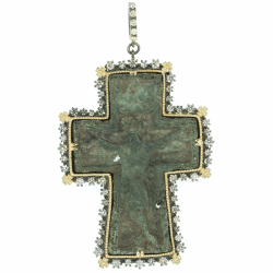 Closeup photo of Ancient Russian Cross w/ Diamond Cross Bezel