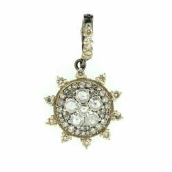 Closeup photo of Round Pave Diamond Enhancer with Rose Cut Diamond Flower