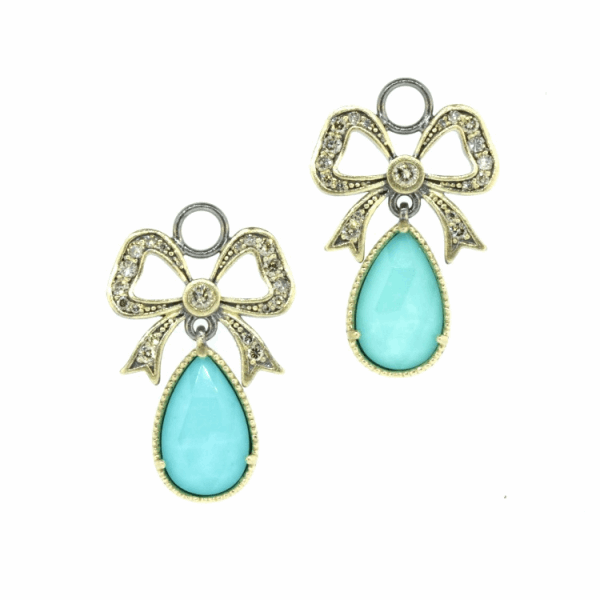 Closeup photo of French Bow Turquoise & Diamond Earring Charms