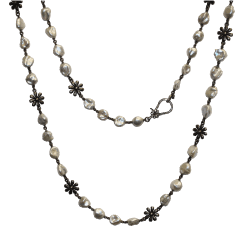 Closeup photo of 56'' Keshi Pearl Necklace with Flower Diamond Clasp