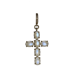 Closeup photo of Oval Moonstone Cross