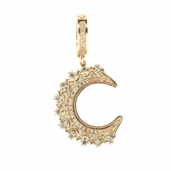 Closeup photo of Rose Gold Crescent Moon Pendant