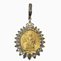 Closeup photo of Antique French Guardian Angel Medal