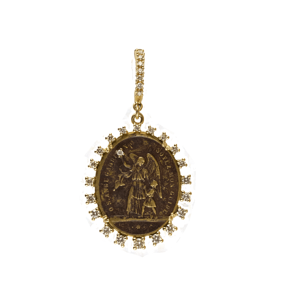 Antique French Brass Guardian Angel Medal
