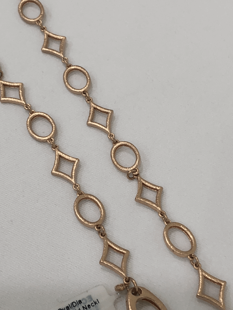 """32"""" Oval/DIA shaped Rose Gold Necklace"""