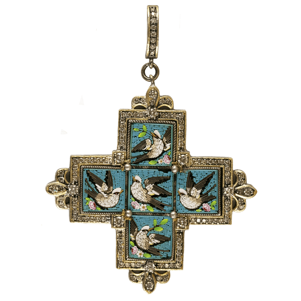 19 Century Micro Mosaic Cross with Swallows