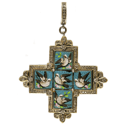 Closeup photo of 19 Century Micro Mosaic Cross with Swallows