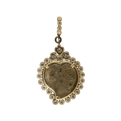 Closeup photo of Byzantine Era Angel and Madonna Heart Shaped Medal