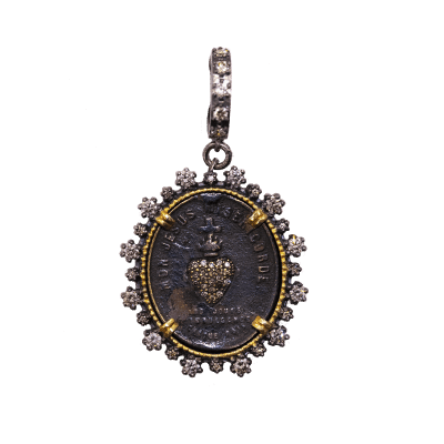 Antique French Sacred Heart with Diamond Inlay
