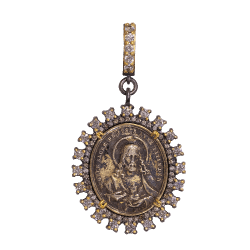 Closeup photo of Antique Crucifixion and Lady Of Sorrows Medal