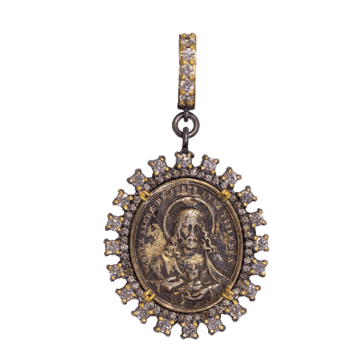 Antique Crucifixion and Lady Of Sorrows Medal