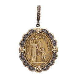 Closeup photo of French Guardian Angel Medal