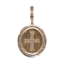 Closeup photo of French St. Benedict Medal Pendant